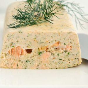 """Terrine aux """"deux saumons maison"""" avec sauce Mojito"""